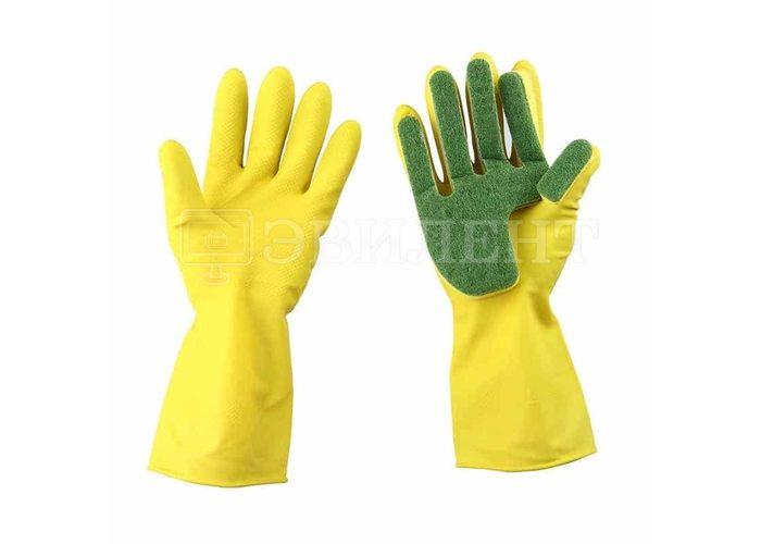 Перчатки с губкой для мытья посуды FEIE CLEANING LATEX GLOVE